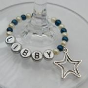 Double Star Outline Personalised Wine Glass Charm - Full Bead Style
